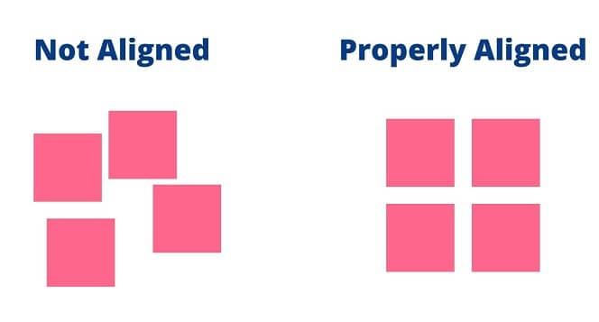 proper alignment vs imporper alignment in graphic design
