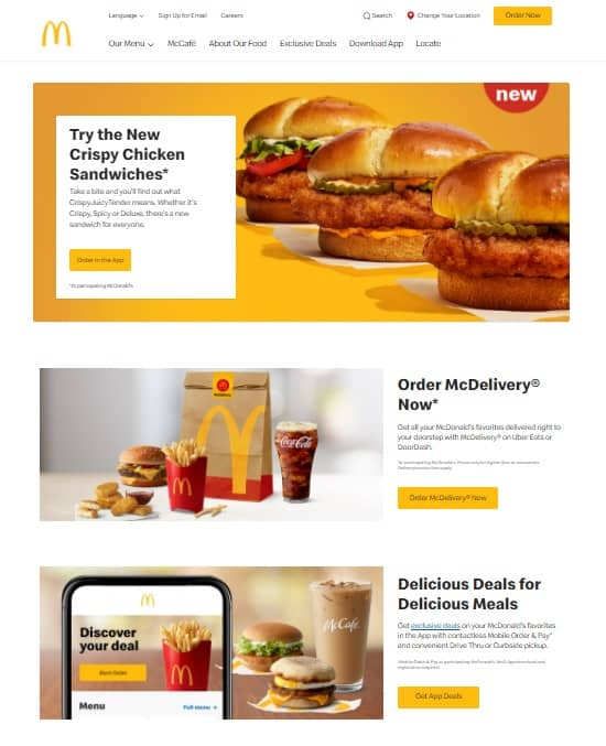 repetition of red and yellow on McDonalds' website