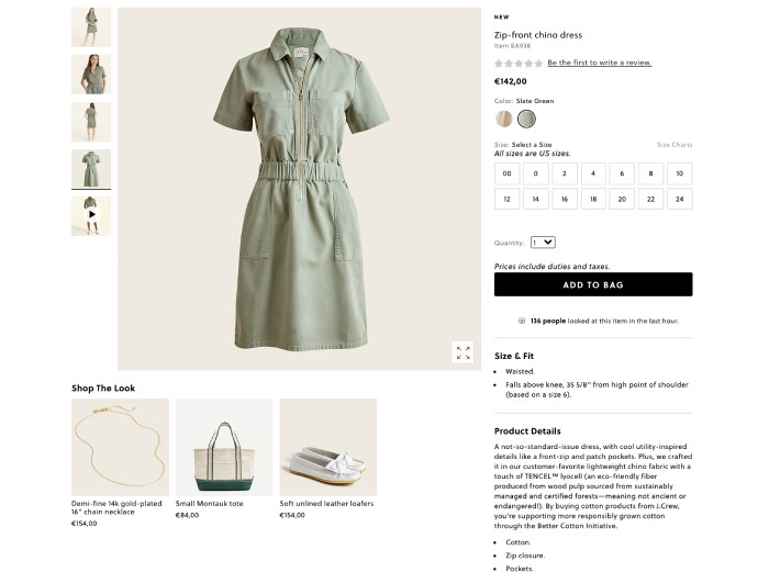 example of cross-selling on the J. Crew website