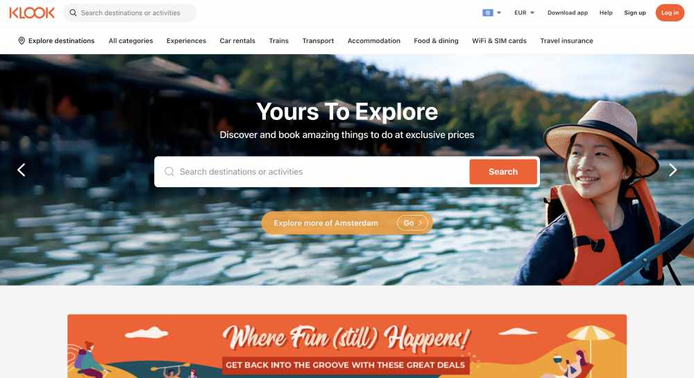klook homepage, an example of a website using psychographics for website personalization