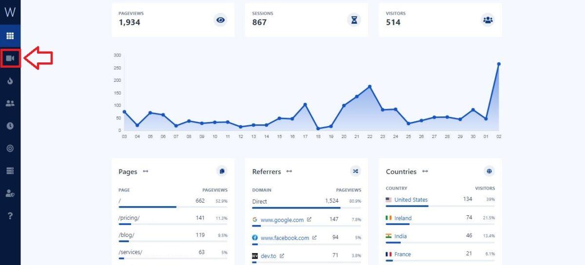 Watch them live Web Analytics