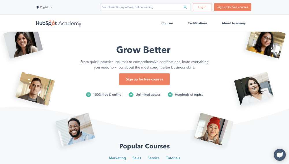 example of reciprocity technique from HubSpot Academy. It offers free knowledge to increase the conversion rate.