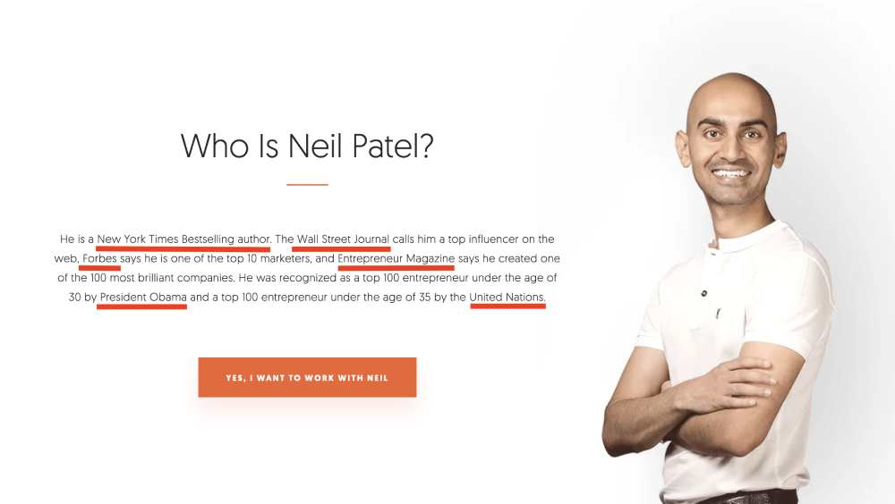 example of authority from Neil Patel. He associates his name with other authorities to increase credibility.