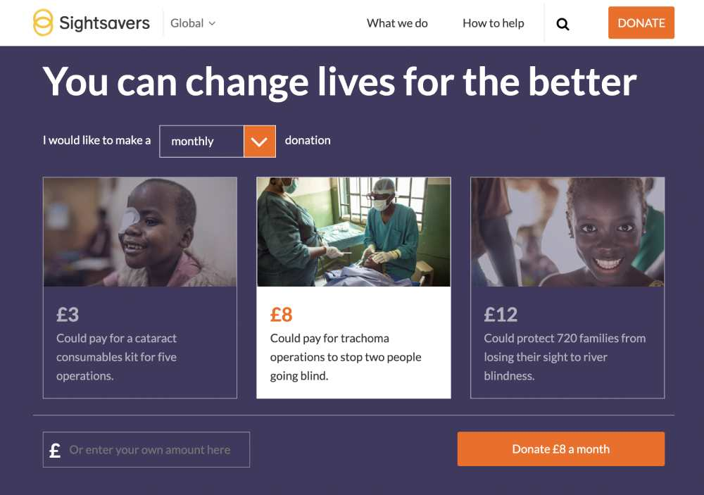 example of pique technique from sightsavers. It asks for unusual amounts that don't end in 0 or 5 to increase donation rate