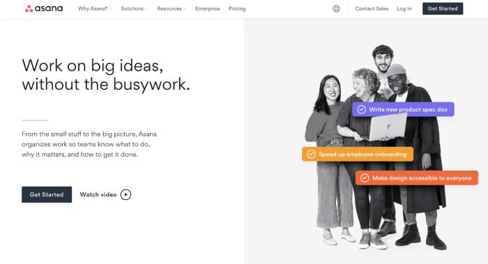 asana homepage - product management