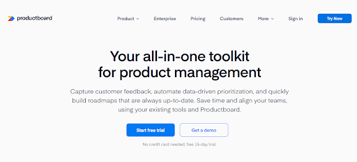 productboard homepage - product management
