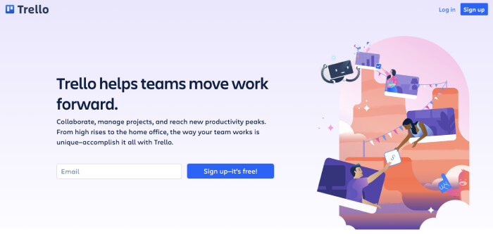 trello homepage - product management